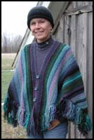 Black and Blue Striped Shawl knit as Poncho