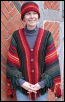 Fiery Fall Striped Shawl knit as Poncho