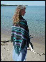 Black and Blue Striped Shawl