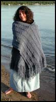 Dark Blue Cabled Shawl